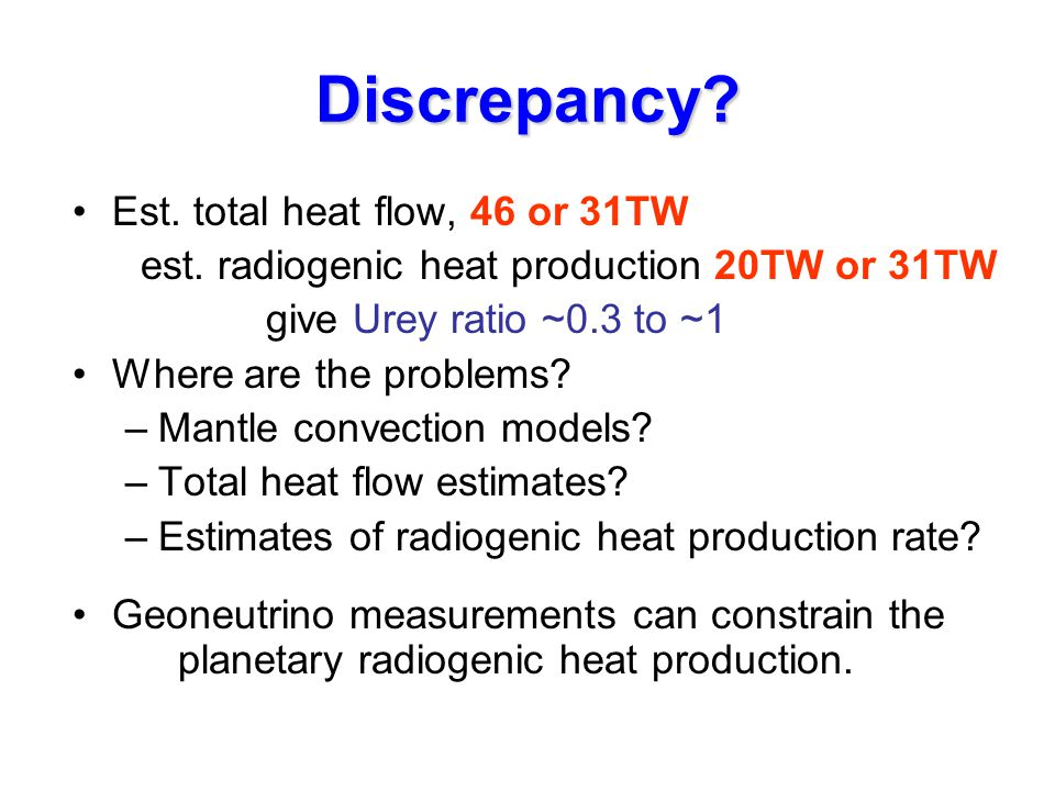 Discrepancy. Est. total heat flow, 46 or 31TW est.
