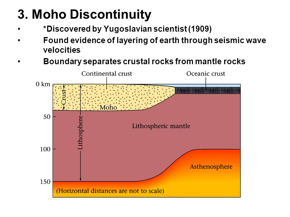 3. Moho Discontinuity *Discovered by Yugoslavian scientist (1909) Found evidence of layering of earth through seismic wave velocities Boundary separat