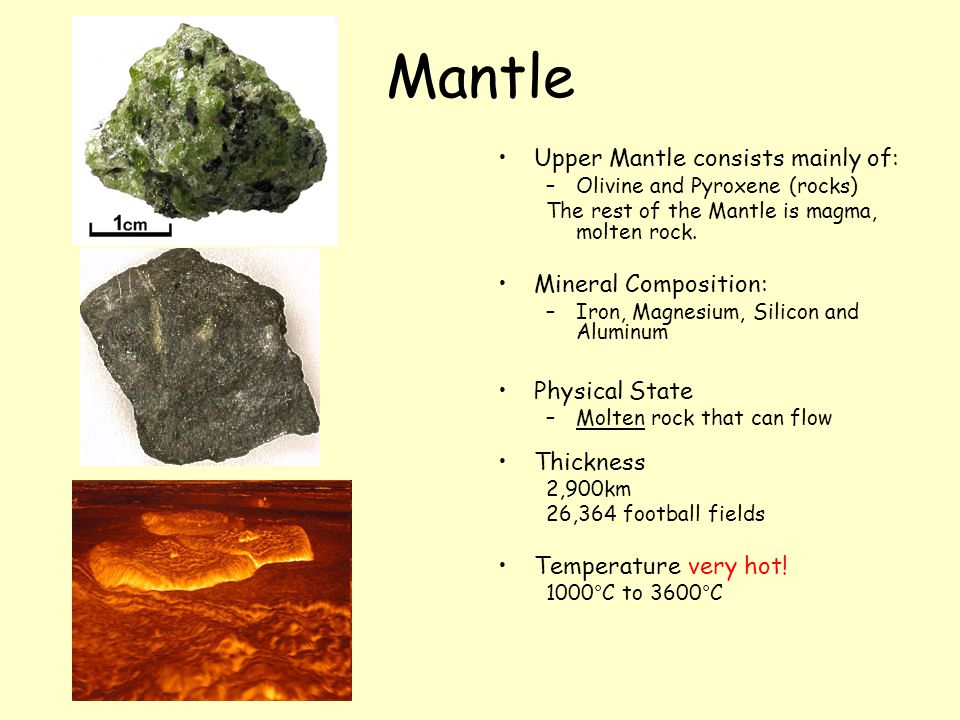 Mantle Upper Mantle consists mainly of: –Olivine and Pyroxene (rocks) The rest of the Mantle is magma, molten rock. Mineral Composition: –Iron, Magnes