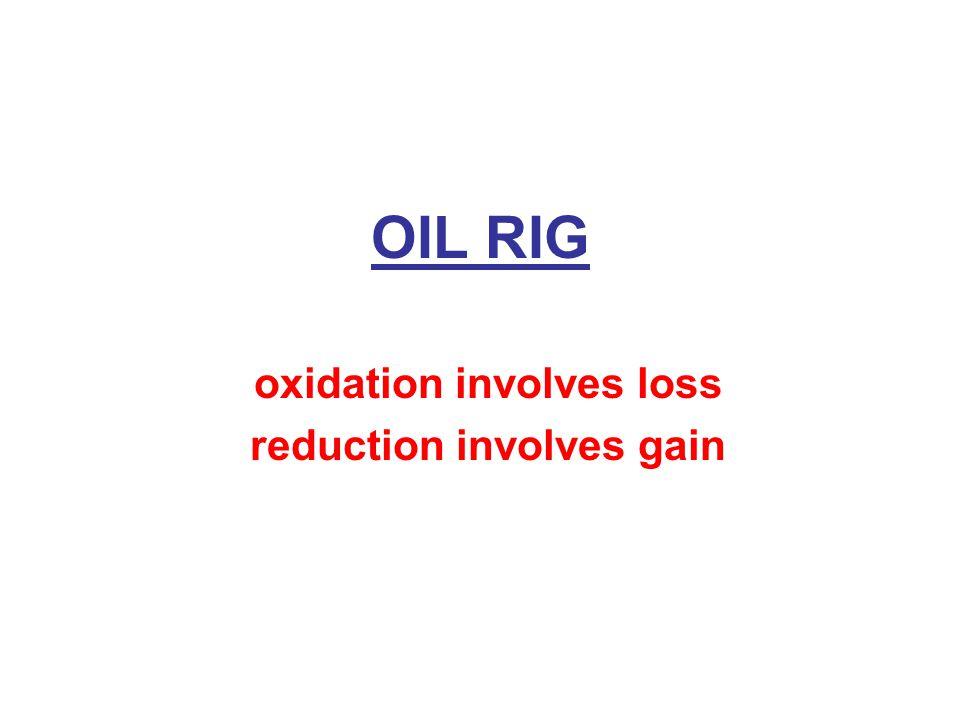 OIL RIG oxidation involves loss reduction involves gain