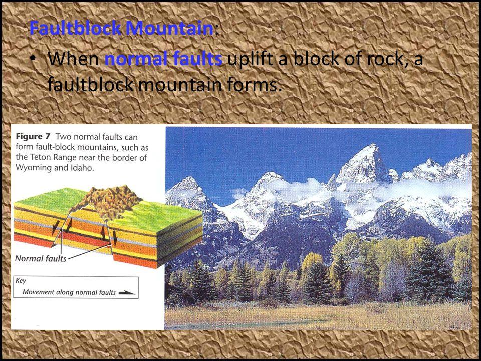 Faultblock Mountain: When normal faults uplift a block of rock, a faultblock mountain forms.