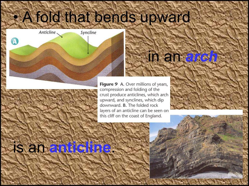 A fold that bends upward in an arch is an anticline.