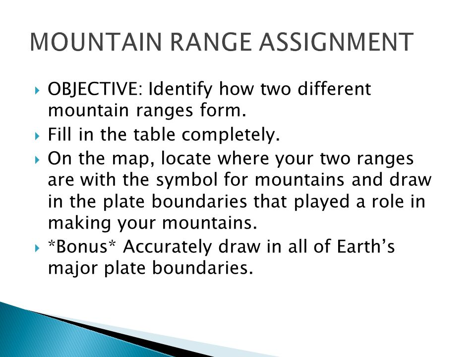  OBJECTIVE: Identify how two different mountain ranges form.