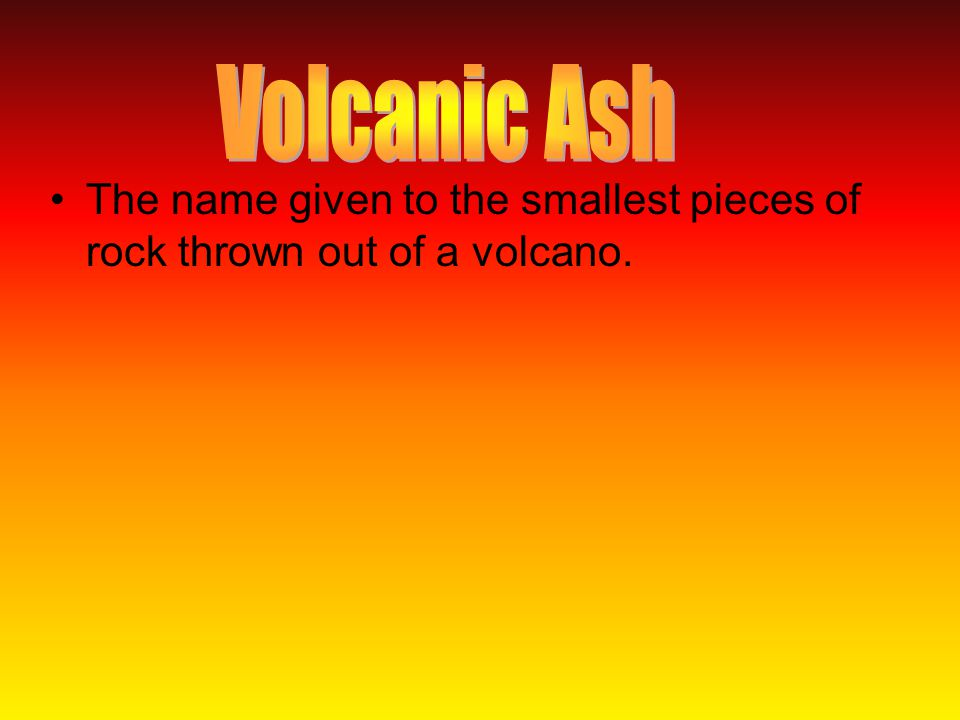 The name given to the smallest pieces of rock thrown out of a volcano.