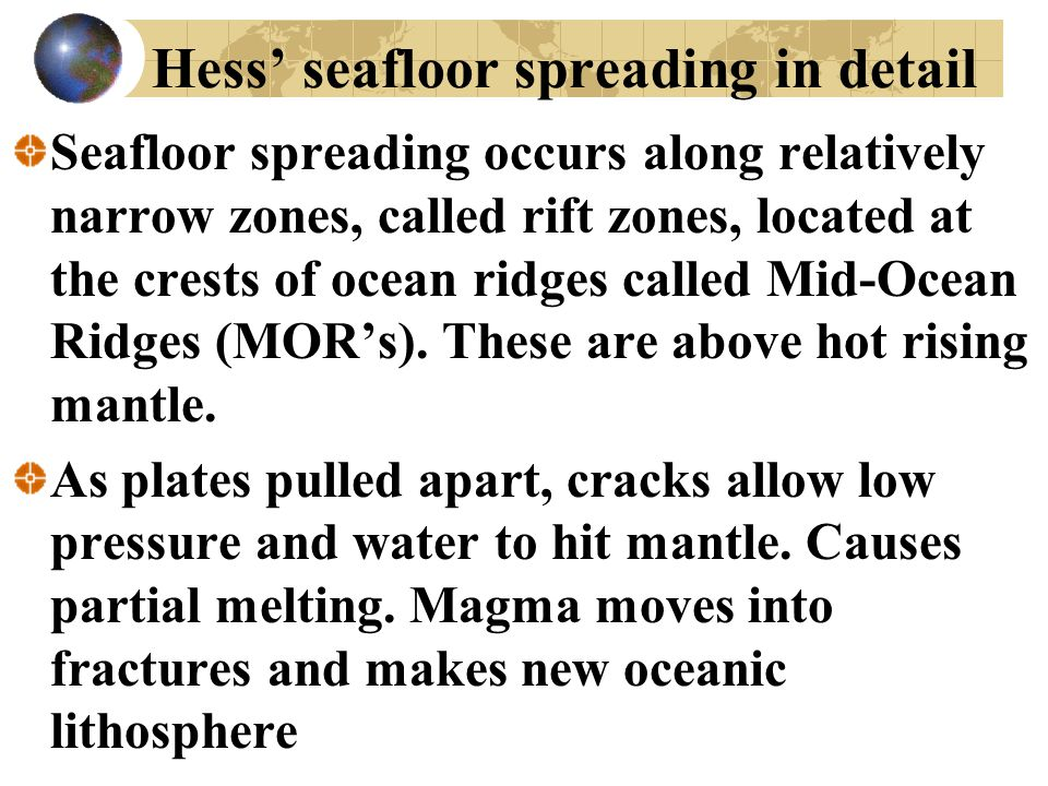Hess' seafloor spreading in detail Seafloor spreading occurs along relatively narrow zones, called rift zones, located at the crests of ocean ridges c