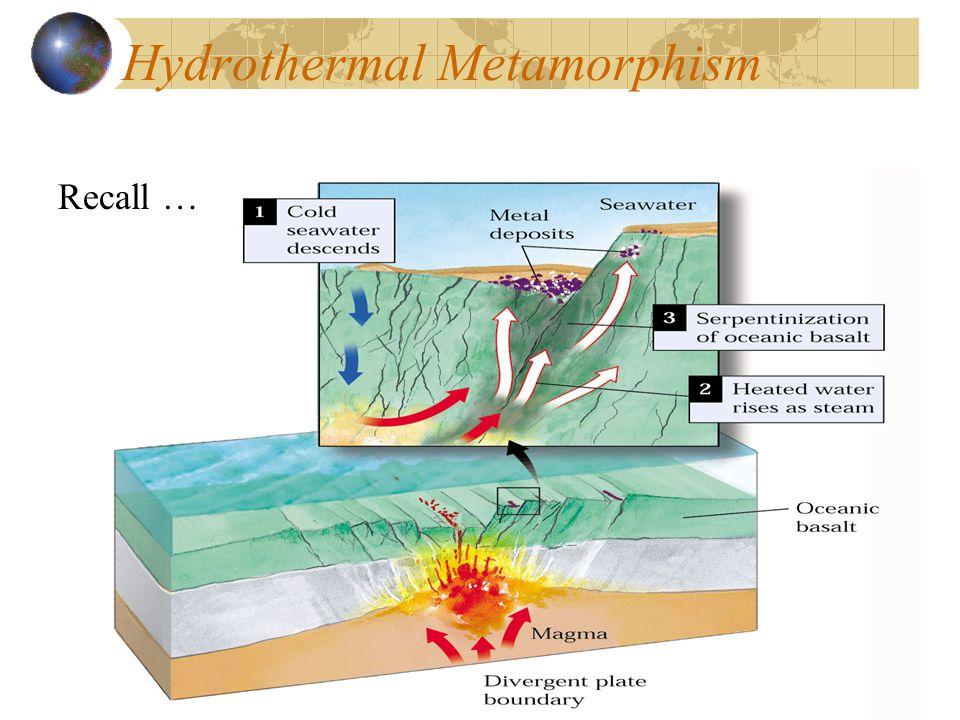 Hydrothermal Metamorphism Recall …