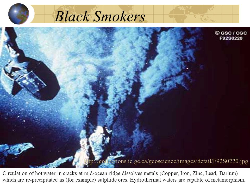 Black Smokers Circulation of hot water in cracks at mid-ocean ridge dissolves metals (Copper, Iron, Zinc, Lead, Barium) which are re-precipitated as (