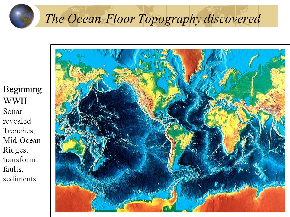 The Ocean-Floor Topography discovered Beginning WWII Sonar revealed Trenches, Mid-Ocean Ridges, transform faults, sediments