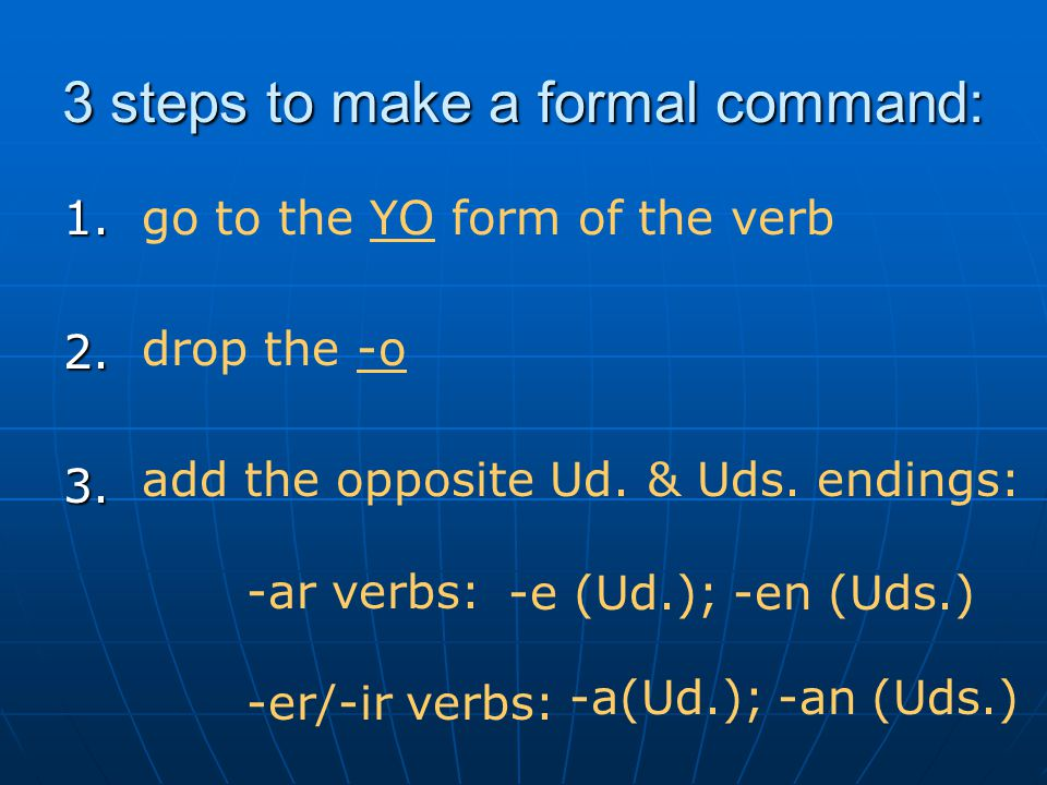 3 steps to make a formal command: 1.2.3.
