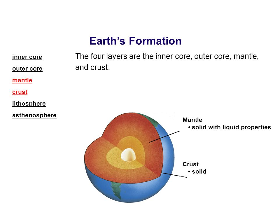 The four layers are the inner core, outer core, mantle, and crust. Earth's Formation Mantle solid with liquid properties Crust solid inner core outer