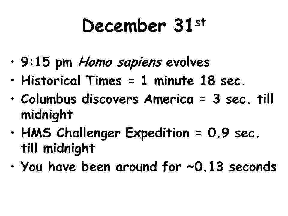 December 31 st 9:15 pm Homo sapiens evolves Historical Times = 1 minute 18 sec.