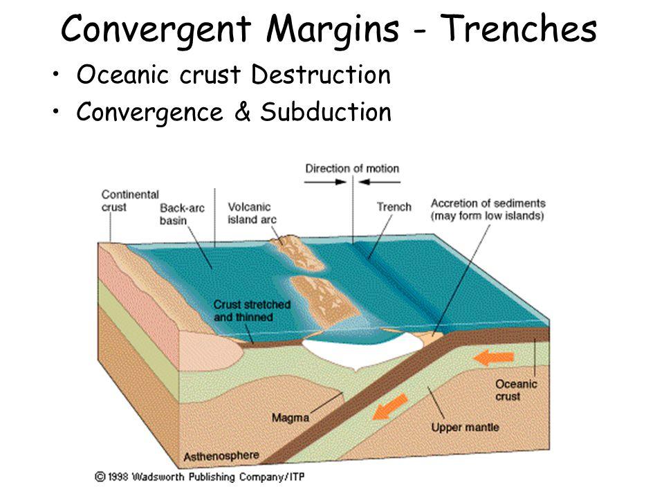 Convergent Margins - Trenches Oceanic crust Destruction Convergence & Subduction