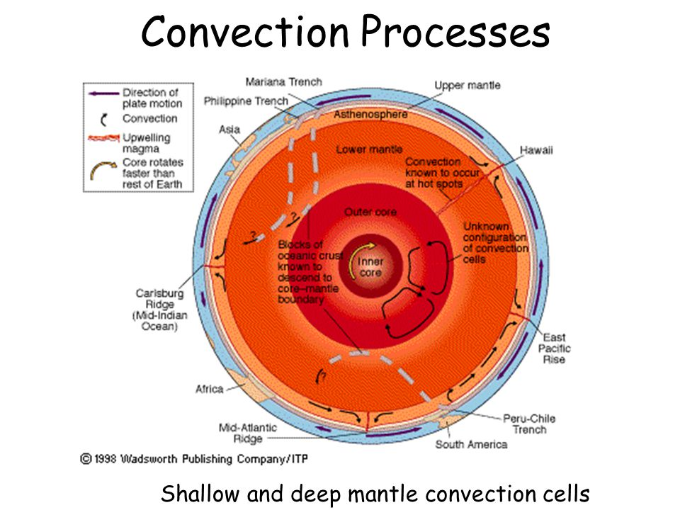 Convection Processes Shallow and deep mantle convection cells