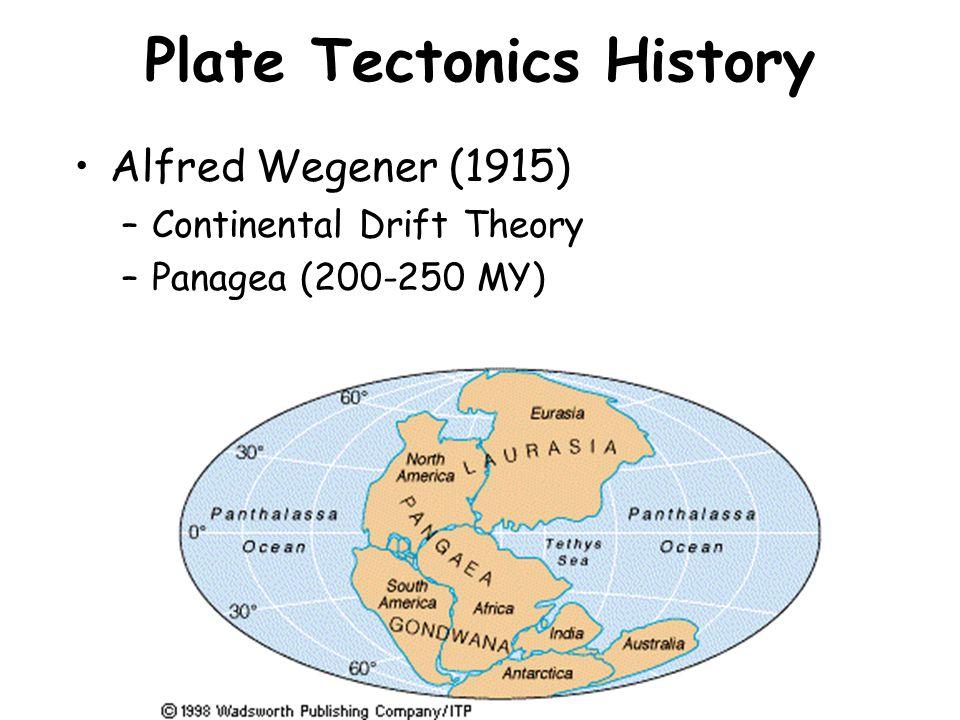 Plate Tectonics History Alfred Wegener (1915) –Continental Drift Theory –Panagea (200-250 MY)