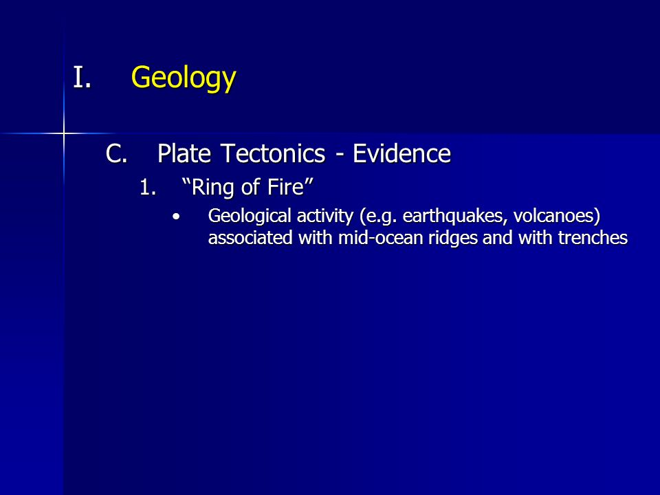 I.Geology F.Geological Provinces 1.Continental Margins a.Continental shelf Shallowest part of continental marginShallowest part of continental margin Underlie ~8% of ocean surfaceUnderlie ~8% of ocean surface Richest, most productive parts of oceanRichest, most productive parts of ocean Some parts exposed during times of low sea level and eroded by rivers and glaciers now are submarine canyonsSome parts exposed during times of low sea level and eroded by rivers and glaciers now are submarine canyons Varies in width from 1 km (Pacific coast of S Am) to 750+ km (Arctic coast of Siberia)Varies in width from 1 km (Pacific coast of S Am) to 750+ km (Arctic coast of Siberia) Ends at shelf break, usually at 120-200 m but up to 400+ m depth.Ends at shelf break, usually at 120-200 m but up to 400+ m depth.