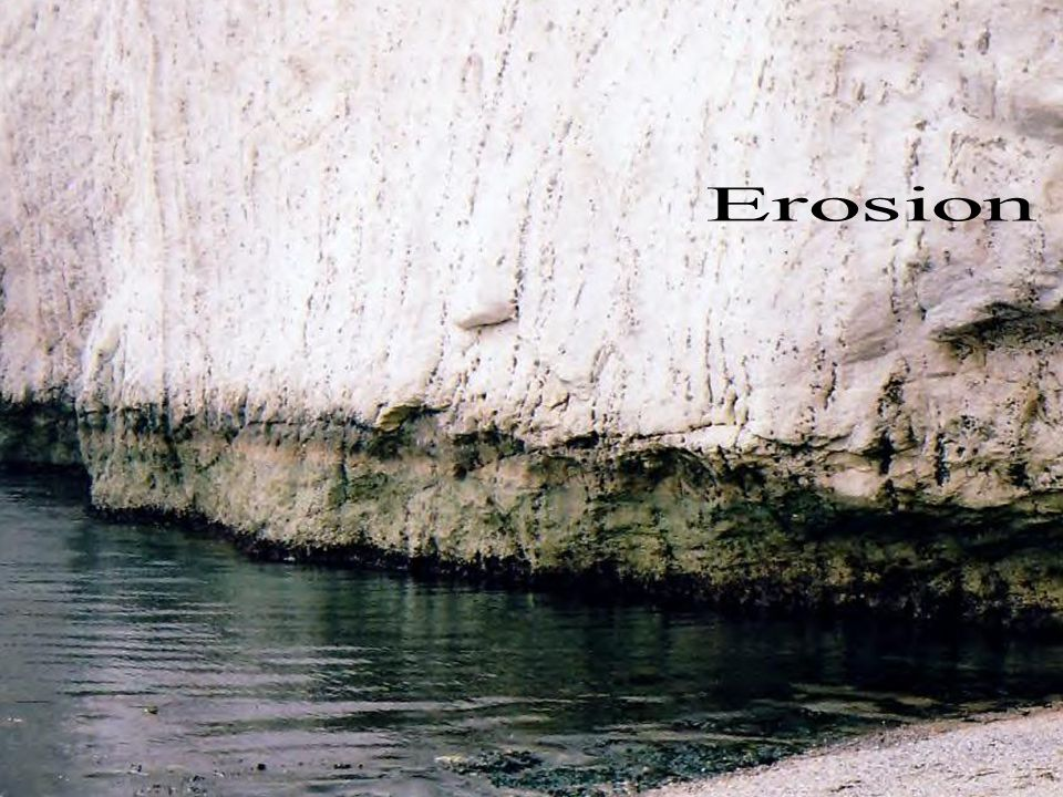 Erosion Erosion is the wearing away of exposed surfaces by agents such as wind, moving water and ice. These agents usually contain weathered rock debr