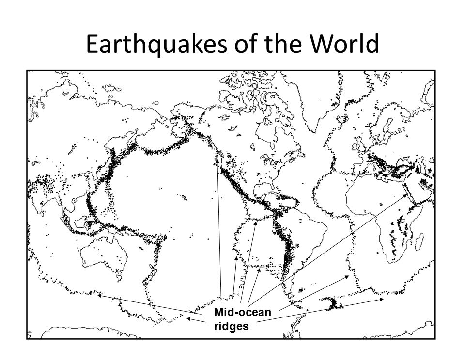Earthquakes of the World Mid-ocean ridges