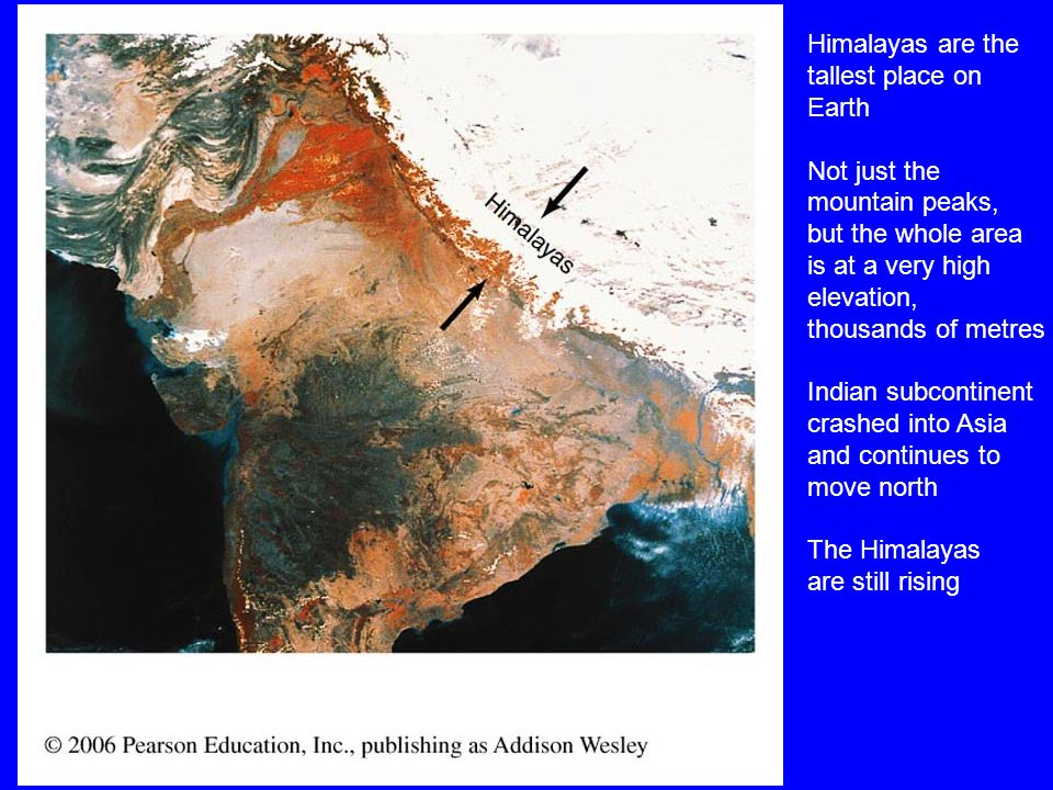 Himalayas are the tallest place on Earth Not just the mountain peaks, but the whole area is at a very high elevation, thousands of metres Indian subcontinent crashed into Asia and continues to move north The Himalayas are still rising