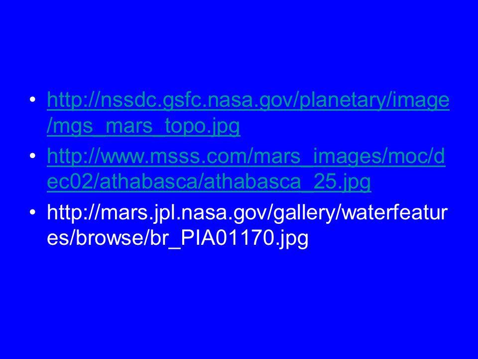 http://nssdc.gsfc.nasa.gov/planetary/image /mgs_mars_topo.jpghttp://nssdc.gsfc.nasa.gov/planetary/image /mgs_mars_topo.jpg http://www.msss.com/mars_images/moc/d ec02/athabasca/athabasca_25.jpghttp://www.msss.com/mars_images/moc/d ec02/athabasca/athabasca_25.jpg http://mars.jpl.nasa.gov/gallery/waterfeatur es/browse/br_PIA01170.jpg