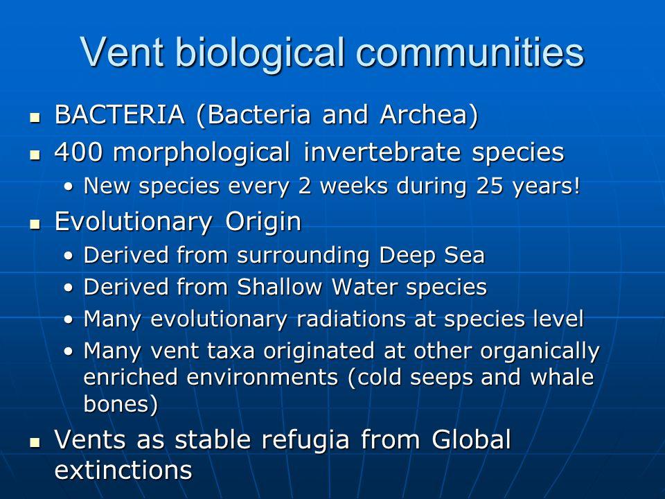 Vent biological communities BACTERIA (Bacteria and Archea) BACTERIA (Bacteria and Archea) 400 morphological invertebrate species 400 morphological invertebrate species New species every 2 weeks during 25 years!New species every 2 weeks during 25 years.