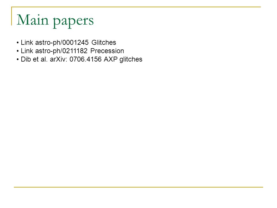 Main papers Link astro-ph/0001245 Glitches Link astro-ph/0211182 Precession Dib et al.