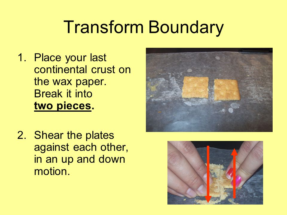 Transform Boundary 1.Place your last continental crust on the wax paper.