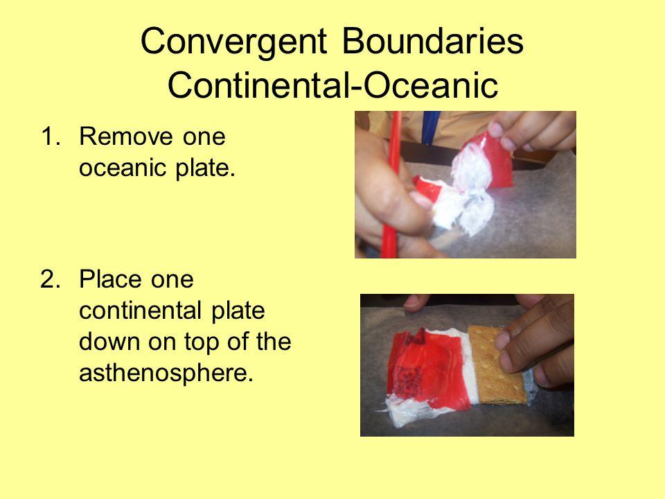 Convergent Boundaries Continental-Oceanic 1.Remove one oceanic plate.