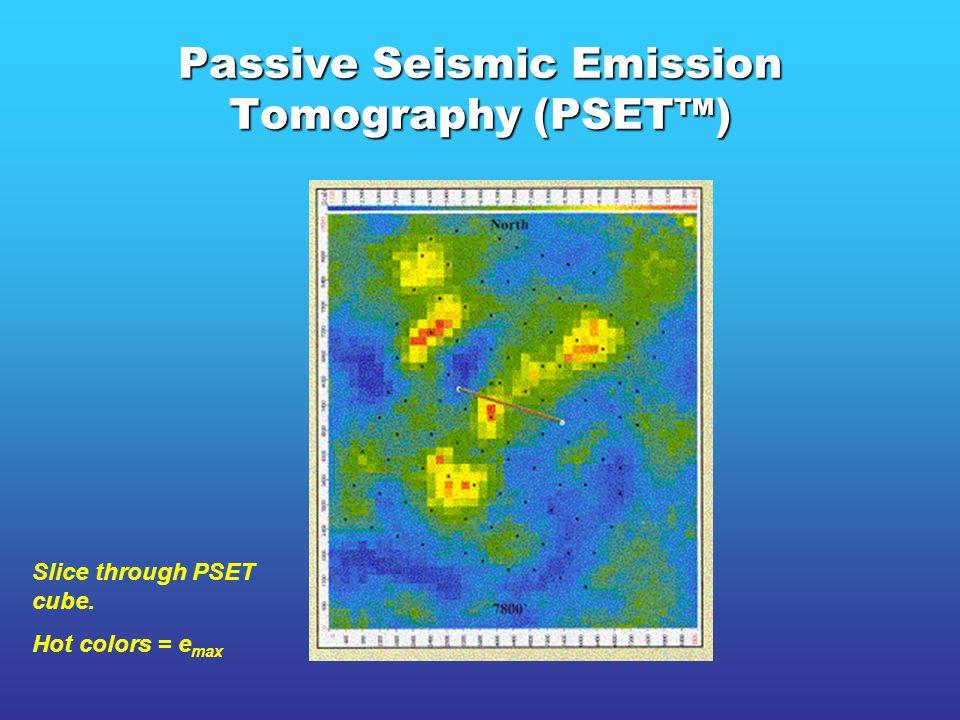 Passive Seismic Emission Tomography (PSET™) Slice through PSET cube. Hot colors = e max