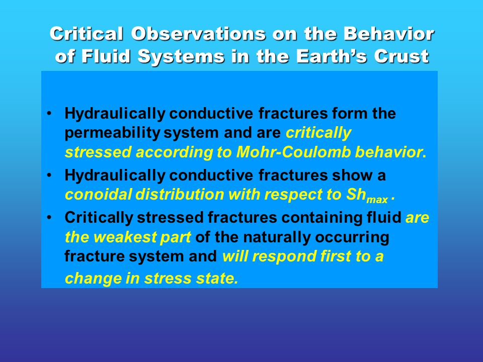 Micro-seismicity and creep created by a change in stress state will occur dominantly and in many cases exclusively on fractures forming the permeability system.