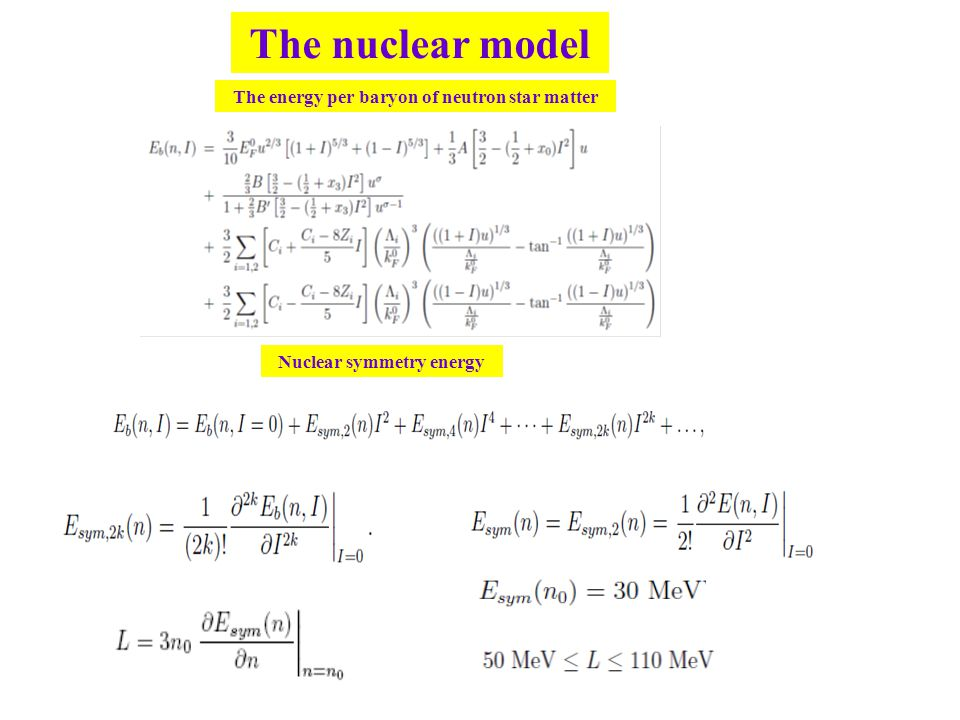 The nuclear model The energy per baryon of neutron star matter Nuclear symmetry energy