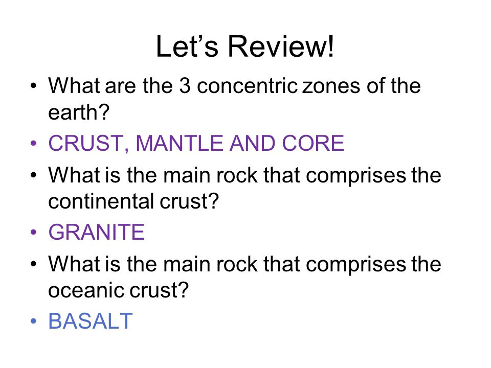 Let's Review. What are the 3 concentric zones of the earth.