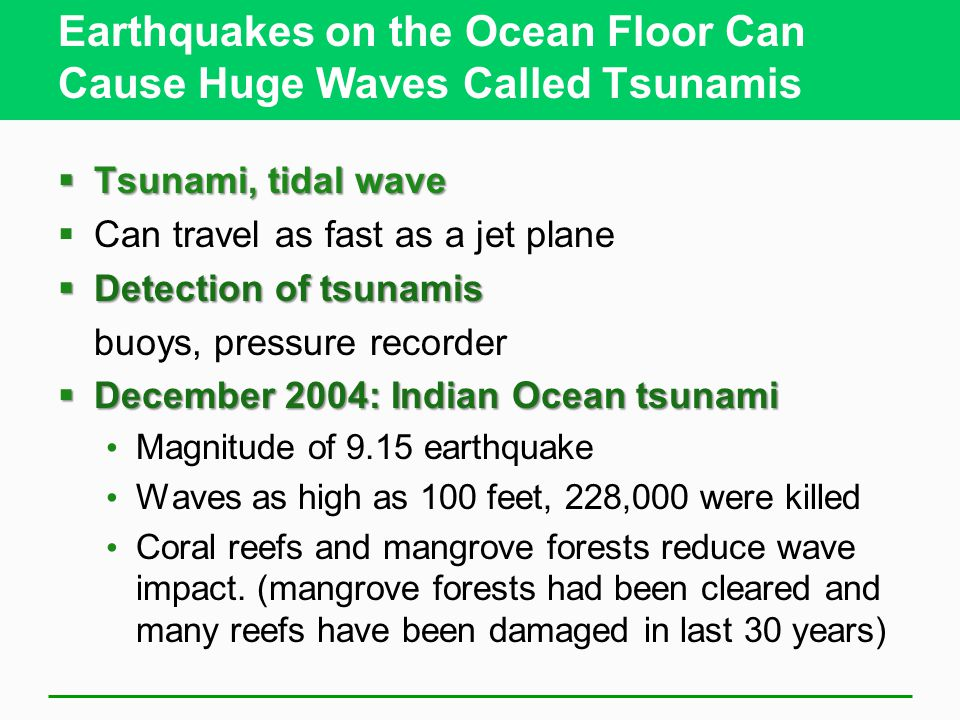 Earthquakes on the Ocean Floor Can Cause Huge Waves Called Tsunamis  Tsunami, tidal wave  Can travel as fast as a jet plane  Detection of tsunamis buoys, pressure recorder  December 2004: Indian Ocean tsunami Magnitude of 9.15 earthquake Waves as high as 100 feet, 228,000 were killed Coral reefs and mangrove forests reduce wave impact.