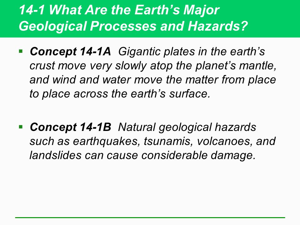 14-1 What Are the Earth's Major Geological Processes and Hazards.