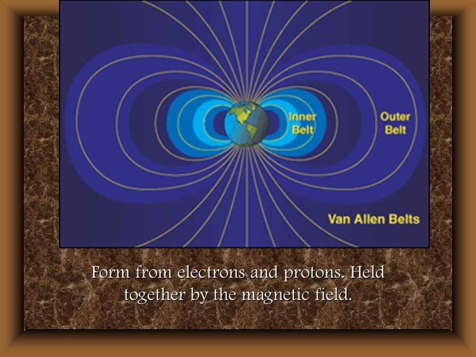Form from electrons and protons. Held together by the magnetic field.