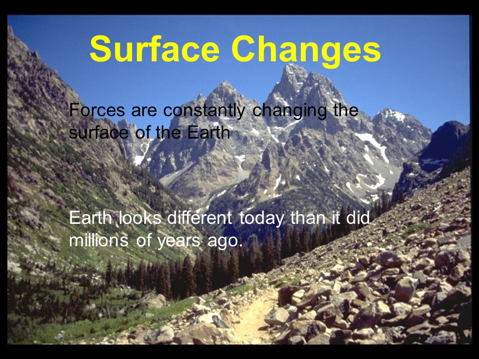 Constructive forces shape the surface by building up mountains and landmasses Constructive forces = Build up