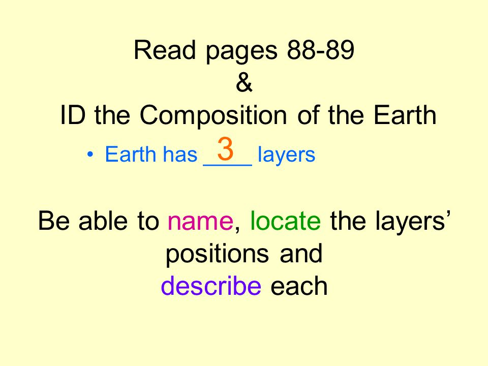 1.Crust 2. Mantle 3. Core Earth has 3 layers