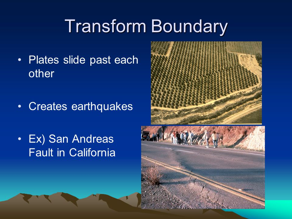 Transform Boundary Plates slide past each other Creates earthquakes Ex) San Andreas Fault in California