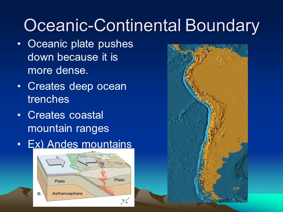 Oceanic-Continental Boundary Oceanic plate pushes down because it is more dense. Creates deep ocean trenches Creates coastal mountain ranges Ex) Andes