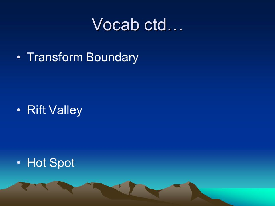 Vocab ctd… Transform Boundary Rift Valley Hot Spot