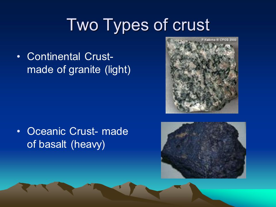 Two Types of crust Continental Crust- made of granite (light) Oceanic Crust- made of basalt (heavy)