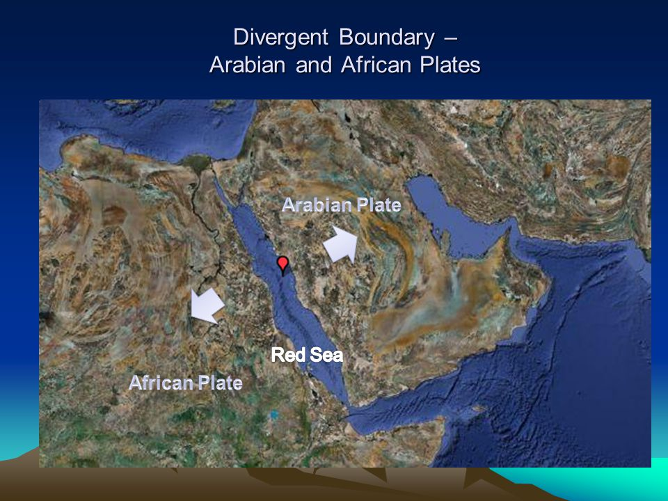 Divergent Boundary – Arabian and African Plates