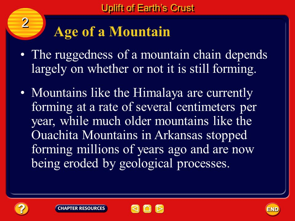 Building Mountains There are four main types of mountains— fault-block, folded, upwarped, and volcanic.