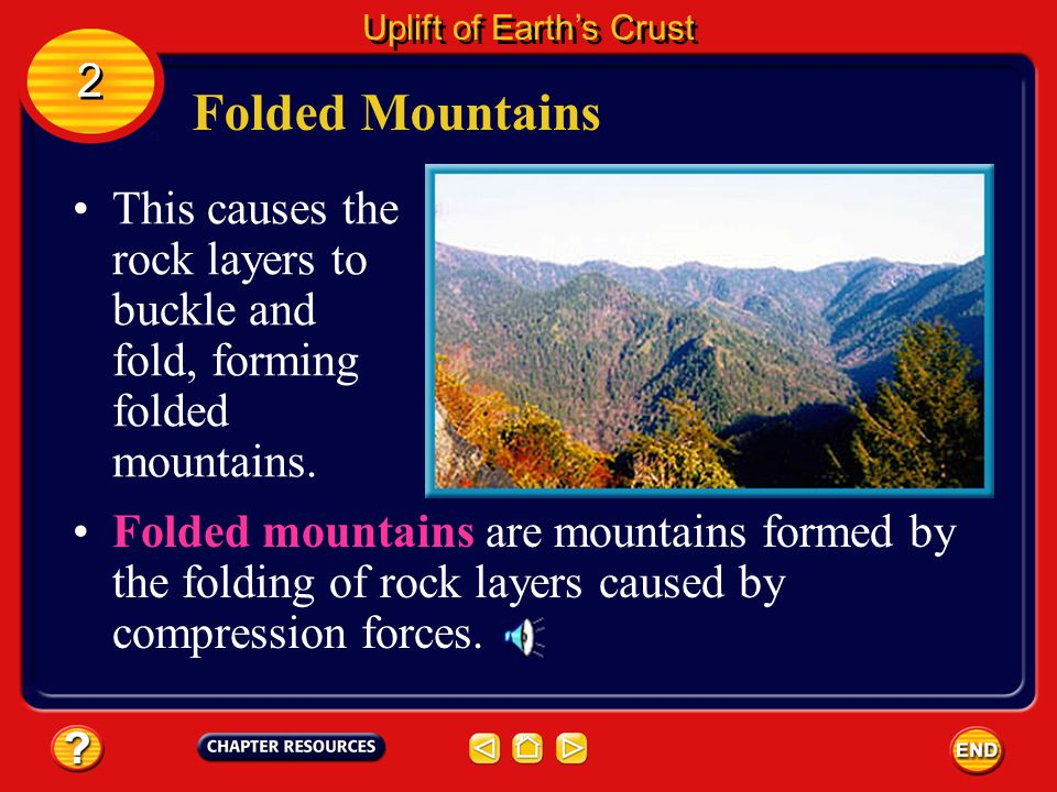 Folded Mountains Tremendous pushing forces exerted by two of Earth's plates moving together can squeeze rock layers from opposite sides.