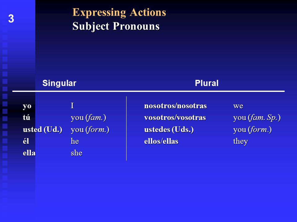 nosotros/nosotras we vosotros/vosotras you (fam. Sp.) ustedes (Uds.)you (form.) ellos/ellasthey Subject Pronouns Expressing Actions Subject Pronouns y