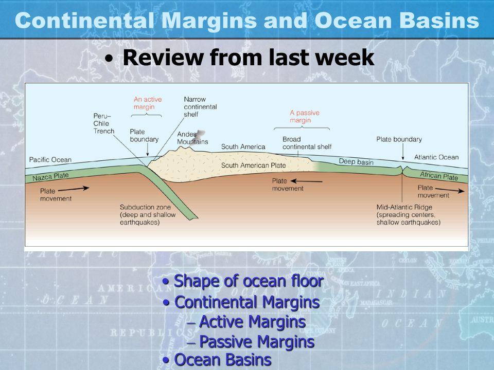 Continental Margins and Ocean Basins Review from last week Shape of ocean floorShape of ocean floor Continental MarginsContinental Margins – Active Margins – Passive Margins Ocean BasinsOcean Basins