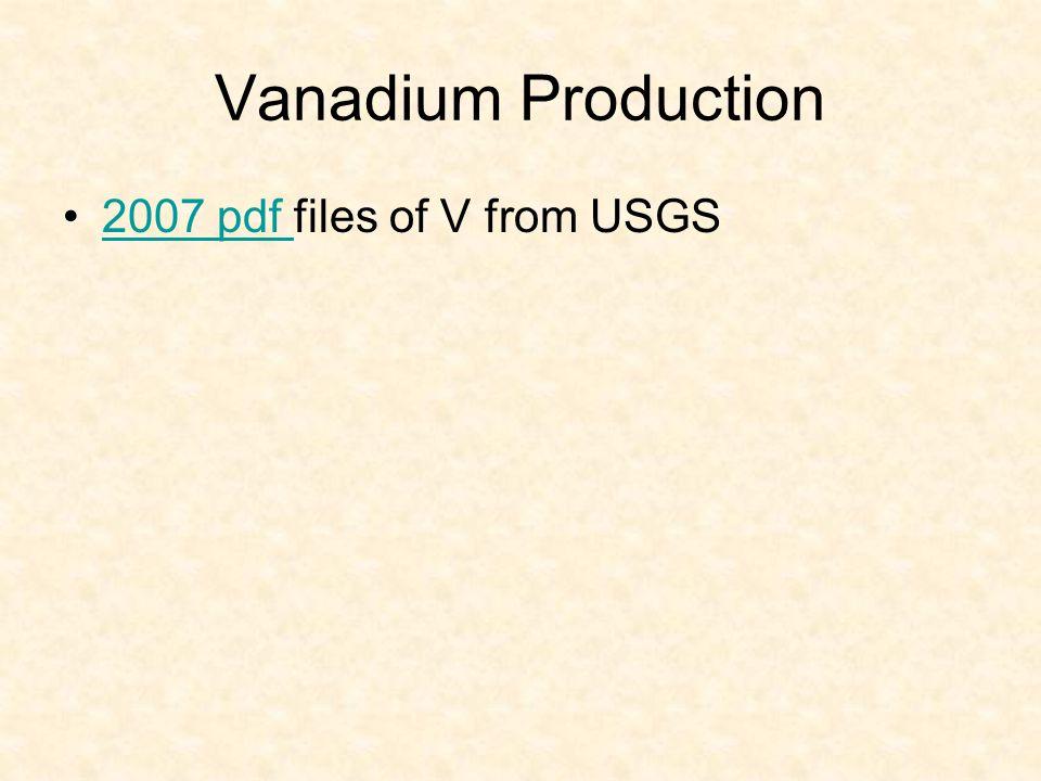 Vanadium Production 2007 pdf files of V from USGS2007 pdf