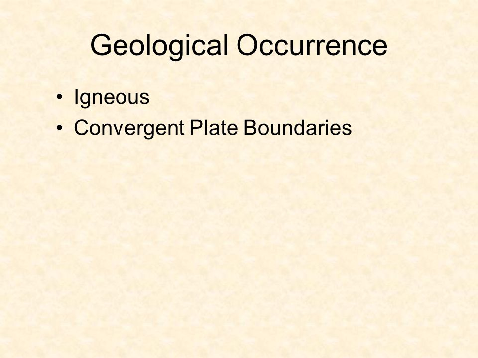 Geological Occurrence Igneous Convergent Plate Boundaries