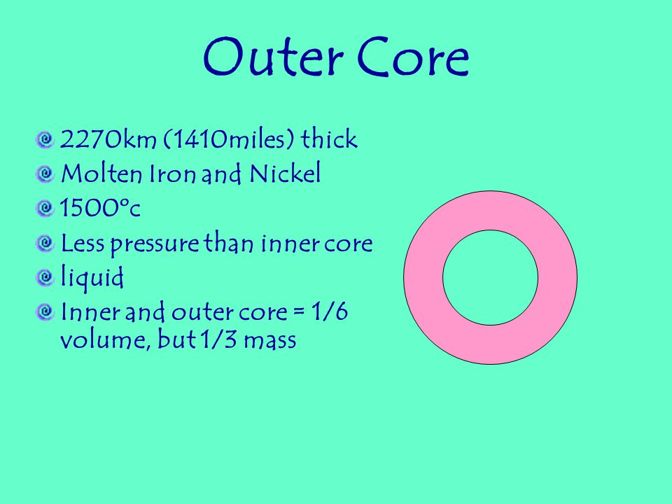 Inner Core 1216km (754 miles) in radius Rich in Iron and Nickel Intense Pressure and Heat: 3700 0 c (6700 0 f) Dense materials sank to core as earth cooled Solid
