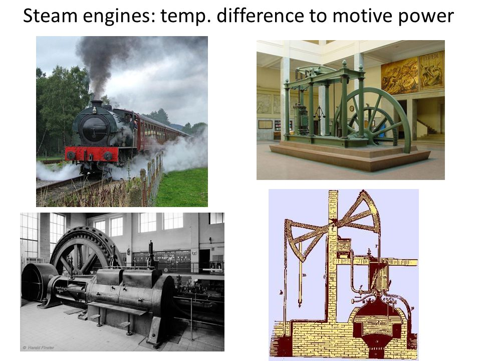 Steam engines: temp. difference to motive power