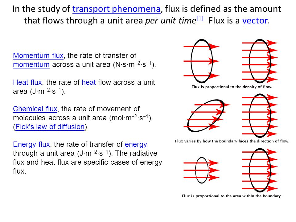 In the study of transport phenomena, flux is defined as the amount that flows through a unit area per unit time [1] Flux is a vector.transport phenome